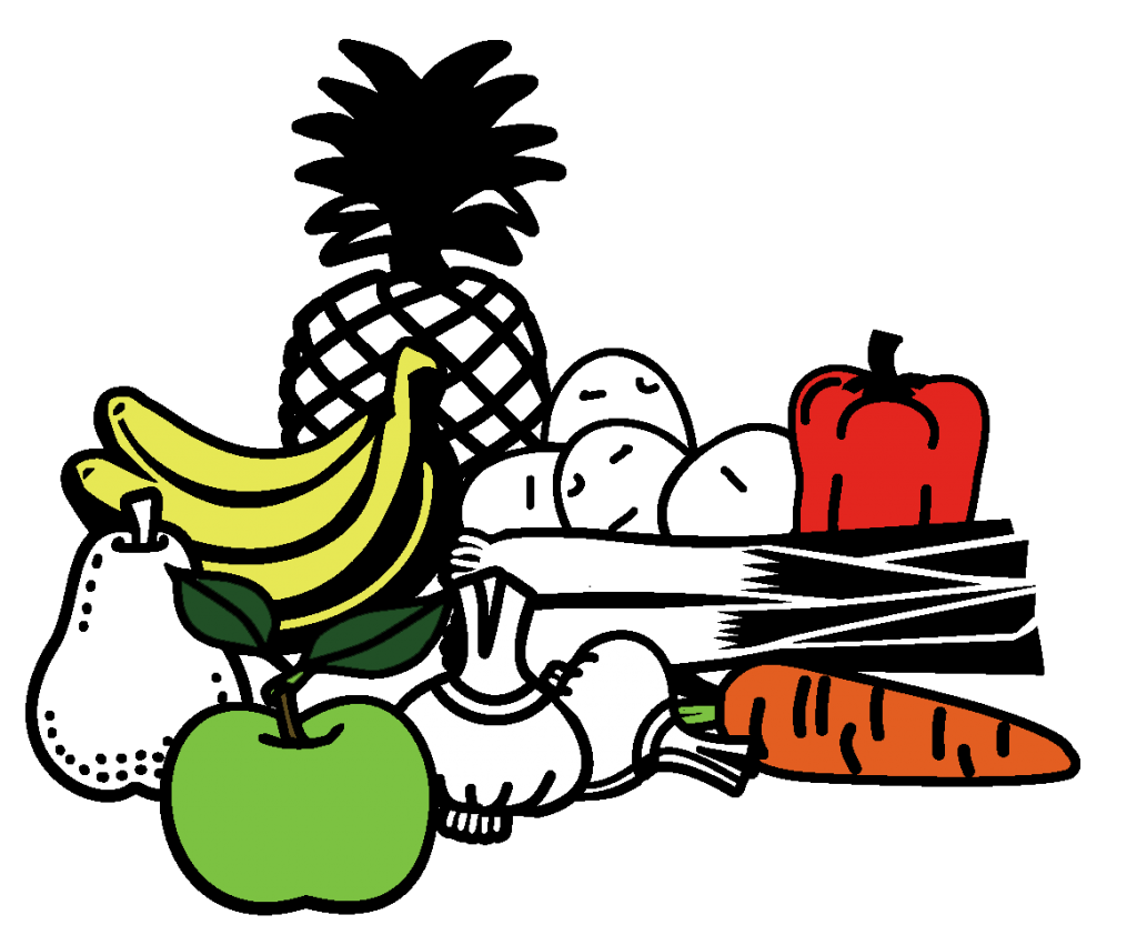 Illustration of pile of fruit and vegetables including pineapples, bananas and carrots