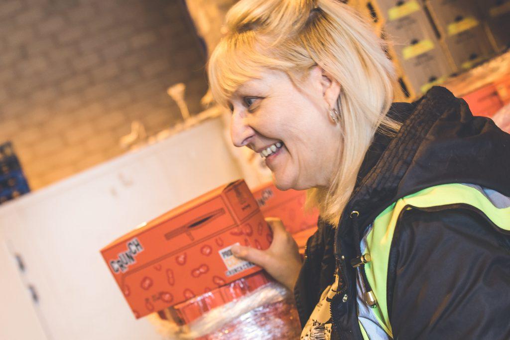 Josephine volunteering in the West Midlands warehouse