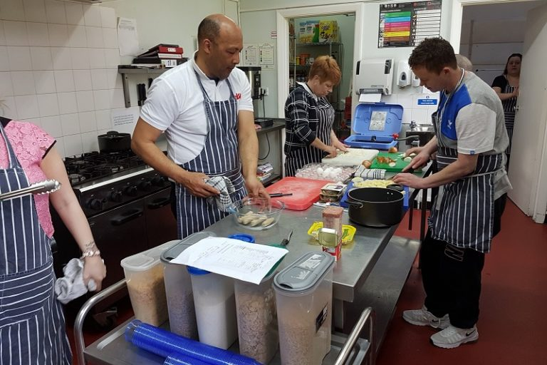 Adelaide House residents cookery class using FareShare GO food