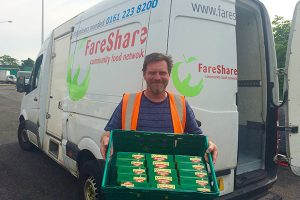 Cereal bars being unloaded at FareShare Greater Manchester