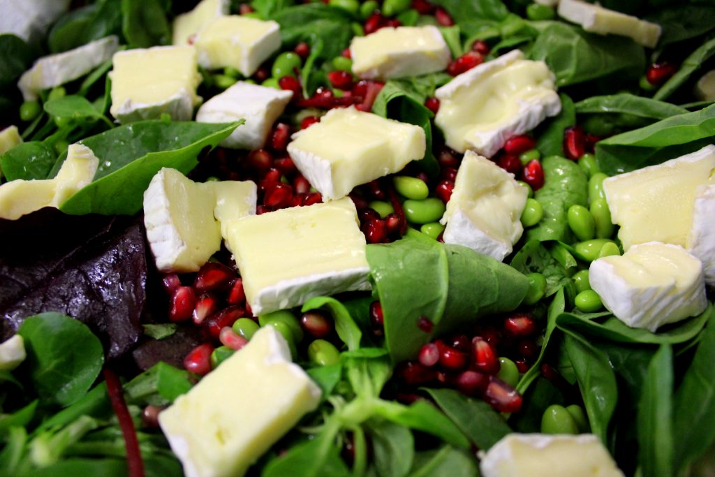 Claire's salad made with surplus brie, pomegranate seeds and edamame beans