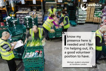 Student Michael explains what he enjoys about volunteering at FareShare