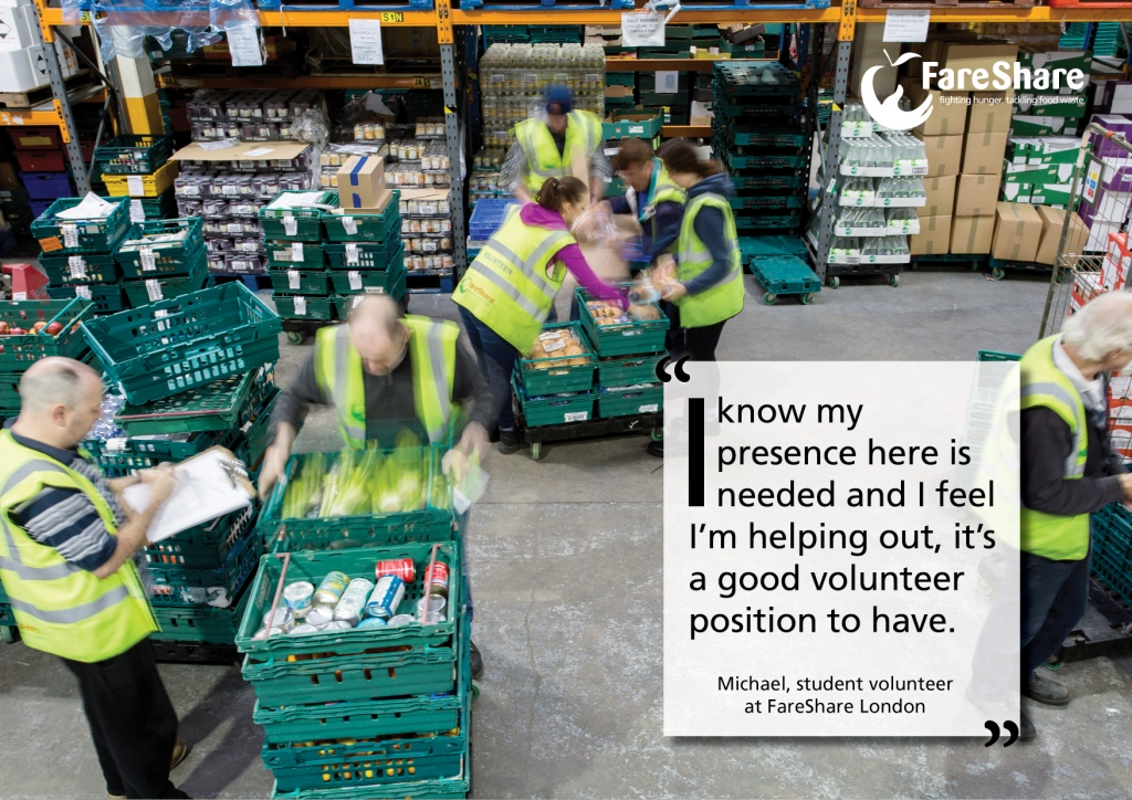 Image of volunteers in warehouse with quote saying I know my presence here is needed and I feel I'm helping out
