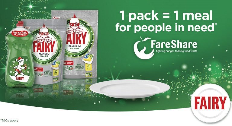 Fairy partner with FareShare for a Christmas promotion in Tesco to help provide meals for people in need