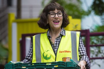 Veronica volunteering at the FareShare warehouse in Deptford, London