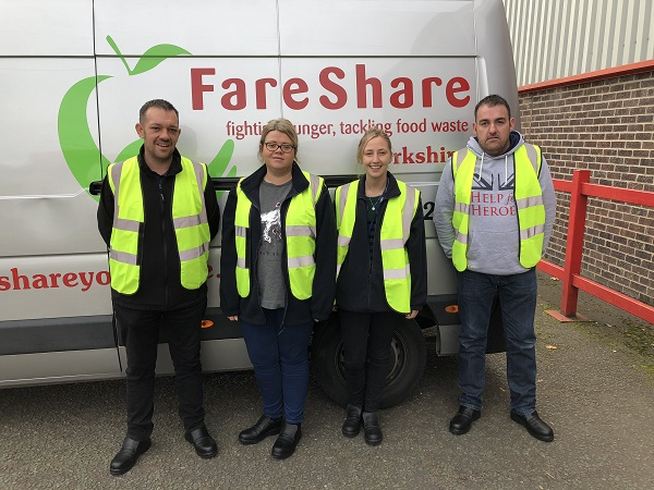 Team of colleagues from Kerry Foods' Dairy site in Ossett volunteering with FareShare Yorkshire.