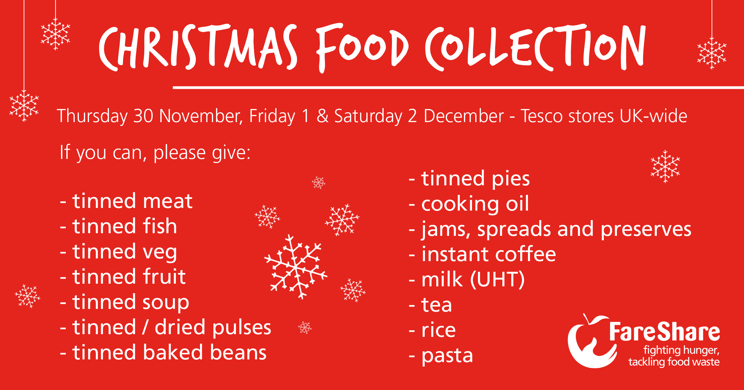 christmas food collection shopping list 2017