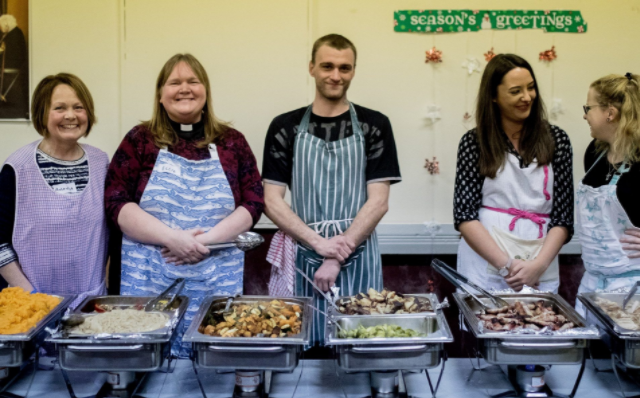 Church of the Apostles, manchester, FareShare charity member, Christmas lunch, homeless