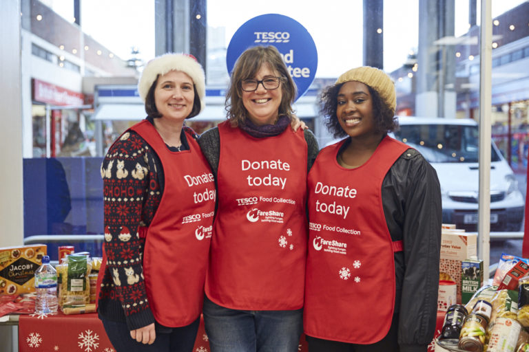 Volunteers Sarah, Deborah and Dordhin in Catford Tesco