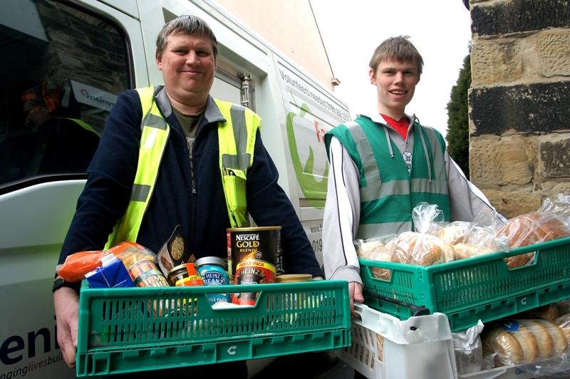 FareShare North East volunteers with Nestle food