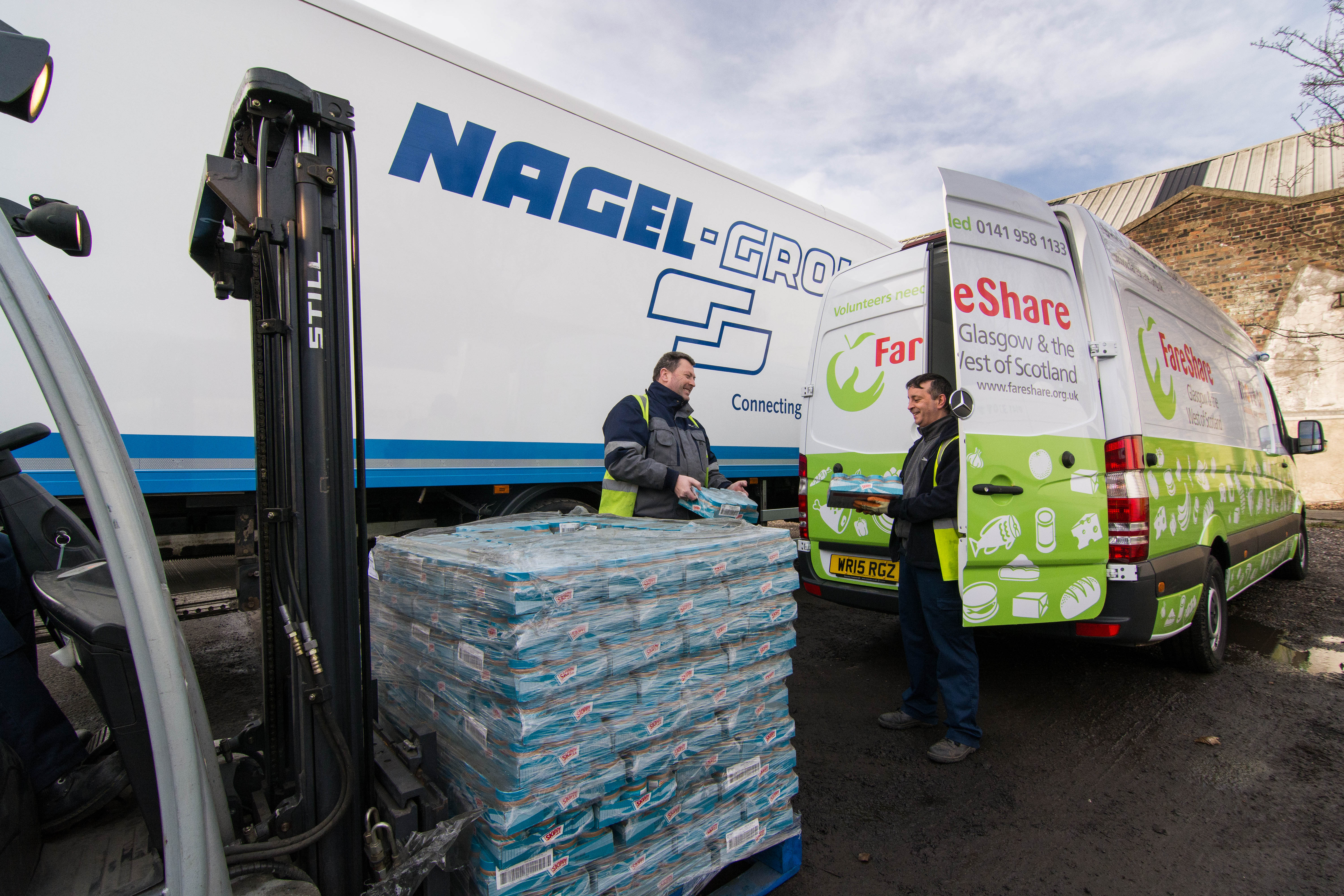 Photographs of Nagel lorry and Fareshare van with Nagel and Fareshare staff including Gillian of Fareshare and Malcolm Wilde.