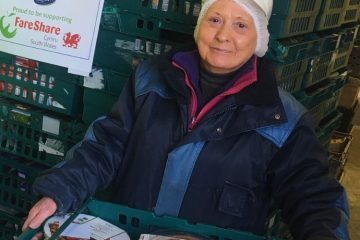 Rogerstone's reliable Dilys Holder, who has worked at the site for more than 30 years, is responsible for building the FareShare pallets.