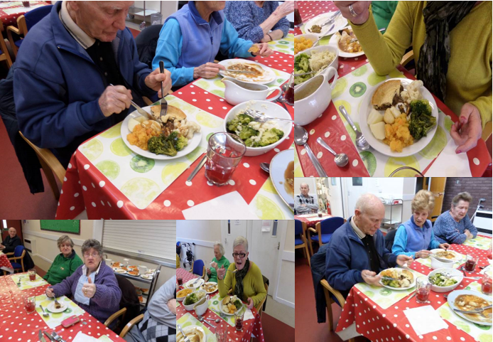 Moorland Star is a community centre for older people. Pictured is a number of centre users are enjoying delicious pies delivered by FareShare Cymru.