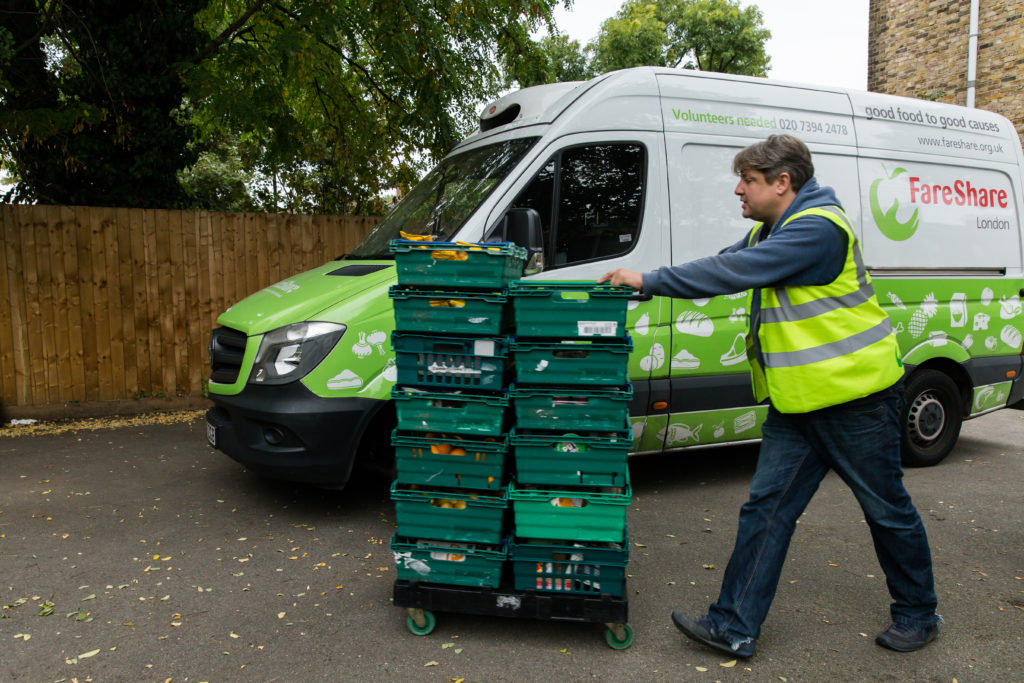 FareShare volunteer delivering food
