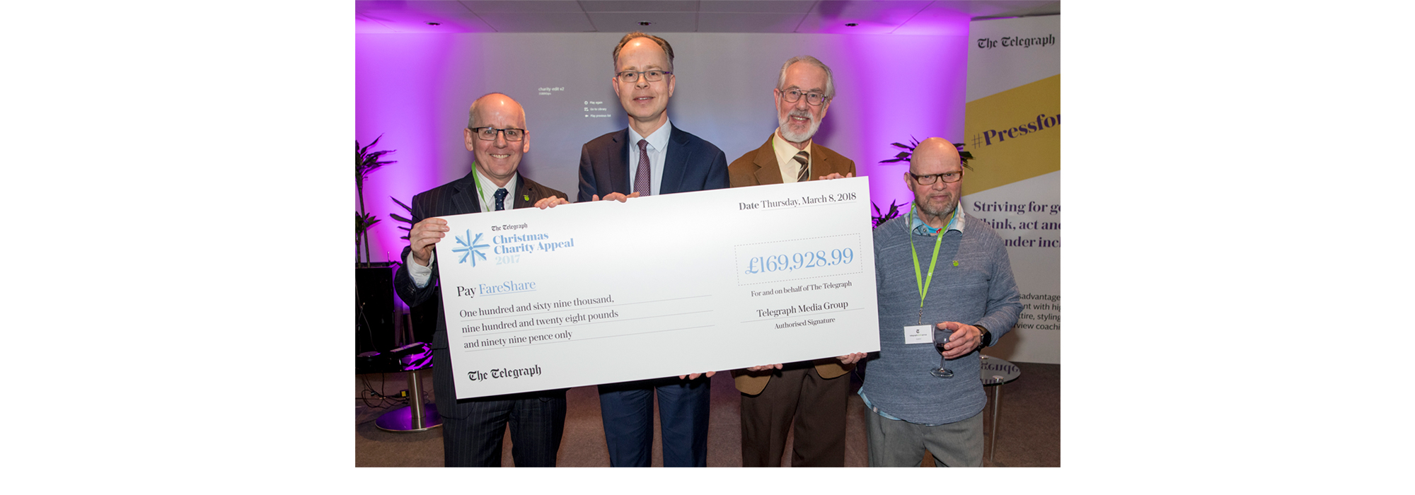 FareShare receives Telegraph Christmas Charity Appeal cheque