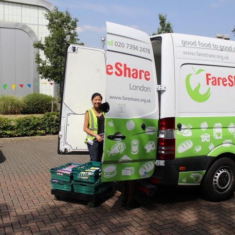 Unloading the FareShare van at Sport at the Heat